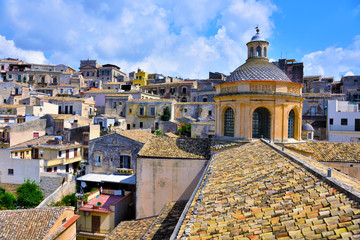 panorama of modica seen from the bell tower of San Giorgio sicily italy