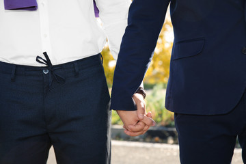 Gay couple holding hands outdoors, closeup view