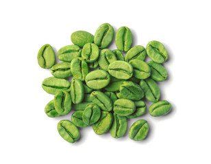 Heap of green coffee beans on white background