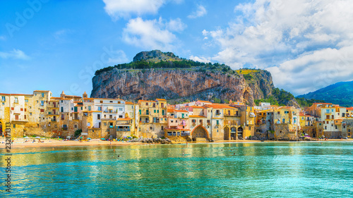 Wall mural Cefalu, medieval village of Sicily island, Province of Palermo, Italy