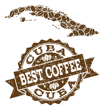 Compositions of coffee map of Cuba Island and grunge stamp seal. Mosaic vector map of Cuba Island is designed with coffee beans. Abstract design elements for coffeeshop purposes.