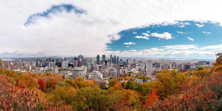 Montreal Skyline with Autumn foliage from Mont Royal Kondiaronk Belvedere
