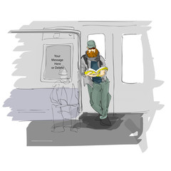 Hipster Dude Standing and Reading on the Subway