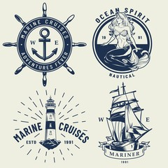 Vintage monochrome nautical logos set