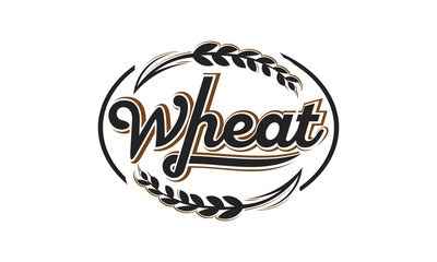 hand written lettering logo, label, badge with ear of wheat. Vintage retro style. Isolated on white background. Vector illustration.