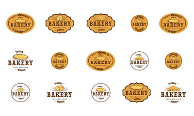 set of bakery logo design template