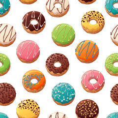 Pattern of vector colorful illustrations on the sweets theme; set of different kinds of glazed donuts decorated with toppings, chocolate, nuts. Realistic isolated objects for your design.