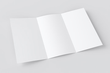 Blank white trifold booklet, paper prospect mockup