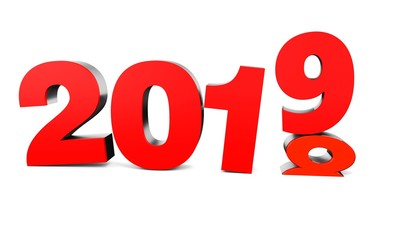 Red New Year 2019 and past Year 2018