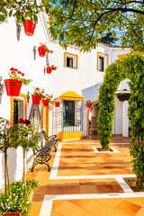 Wall Mural - Typical architecture of white Andalusian style village near Marbella, Spain