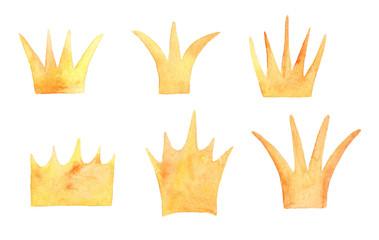 Set of watercolor crowns.