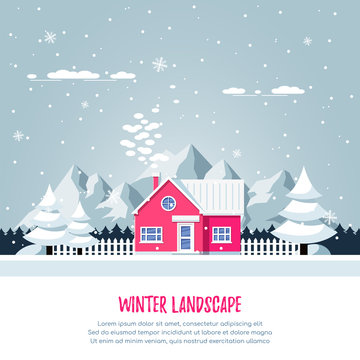 Winter landscape with livivng house.