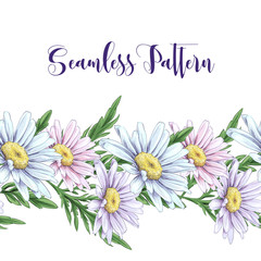 Seamless border with white roses, daisies. Vector