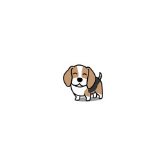 Cute beagle puppy smiling, vector illustration