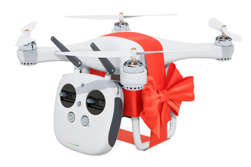 Drone quadrocopter with remote control and red ribbon and bow, gift concept. 3D rendering