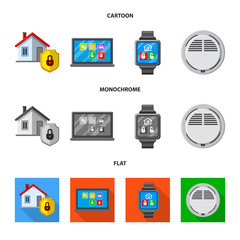 Vector design of office and house icon. Collection of office and system stock vector illustration.