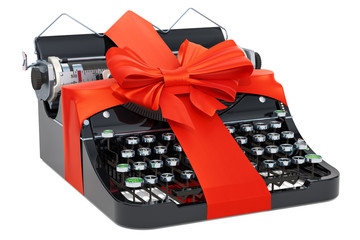Gift concept. Typewriter with red ribbon and bow. 3D rendering