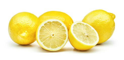 fresh lemon fruits isolated on white background Fototapete