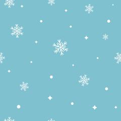 Snowflake seamless pattern. Snow on blue background