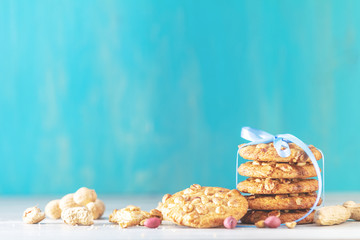 Christmas and New Year composition with delicious peanut cookies and peanuts
