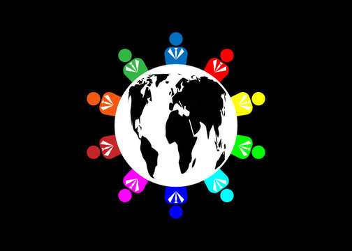 Team ten people logo and world globe. Concept of group of people meeting collaboration and great work. Group of business people. Business people sharing their ideas. Vector illustration isolated