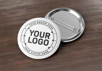 Circular Pin Badge on Wooden Desk Mockup