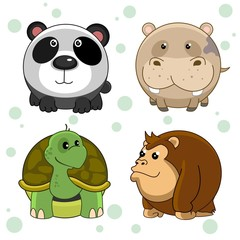 Set of beautiful round animal icons for kids and design. Round wild animals panda, hippopotamus, turtle and chimpanzee monkey.