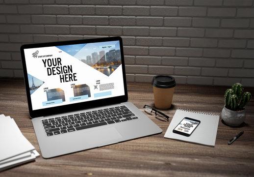 Laptop and Smartphone on Desk Mockup