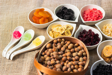 Healthy dried fruits and walnuts fruits