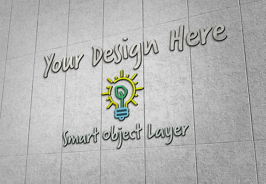 3D Sign on Concrete Wall Mockup