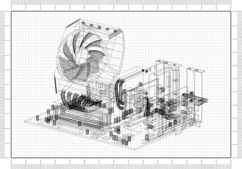 Motherboard Graphic Card and Processor Design Architect Blueprint