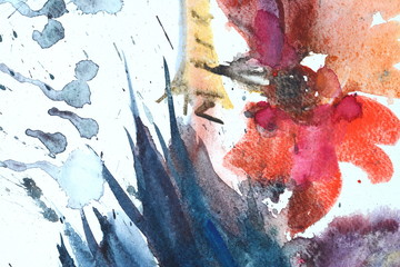 Photo of Watercolor texture on paper close-up