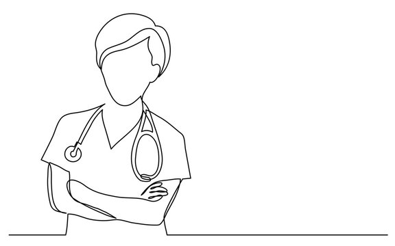 continuous vector line drawing of female doctor with crossed arms