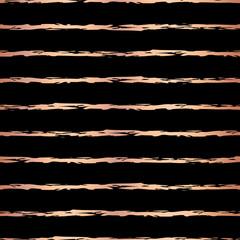 Copper foil hand drawn brush stroke horizontal lines seamless vector pattern. Rose gold irregular stripes on black background. Elegant design for banner, wedding, party, birthday, Christmas, New Year