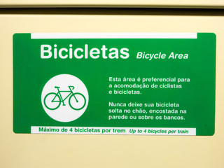 SAO PAULO, BRAZIL - APR 14, 2018 - Adhesive plate indicating bicycle area in brazilian subway
