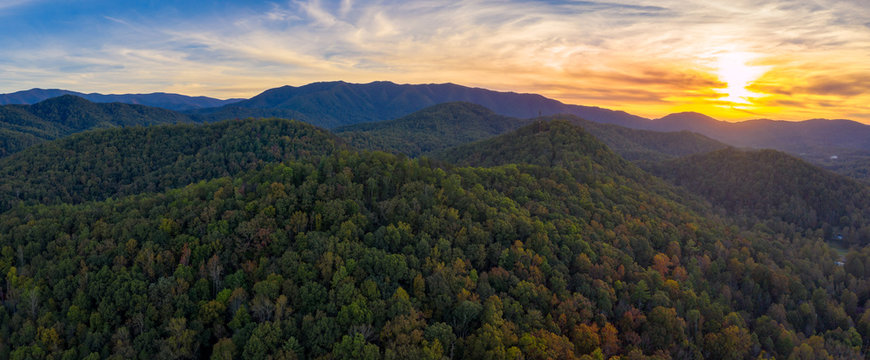 smoky mountains during sunset