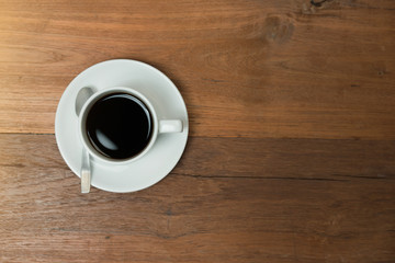 Top view coffee cup on wood table