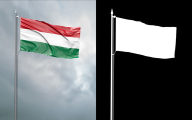 3d illustration of the state flag of Hungary moving in the wind at the flagpole in front of a cloudy sky with its alpha channel