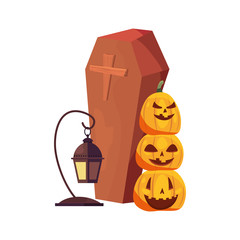 halloween party pupmkin coffin and lantern