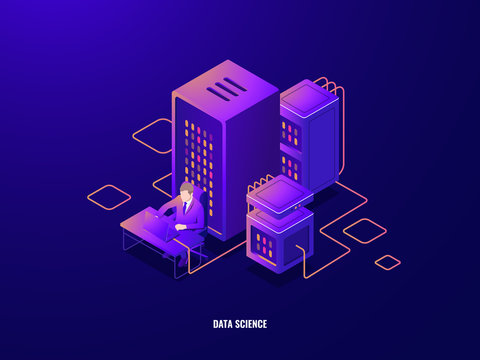 Data research isometric icon, information analyzing and big data processing, artificial intelligence ai, magnifying glass, workplace, server room, office worker dark neon