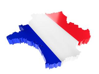 3D France borderline with national flag colors