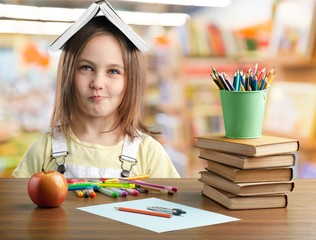 Child kid happy studying closeup funny school