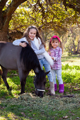 Cute little girls and pony in a beautiful park