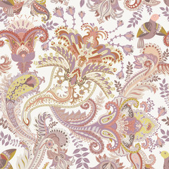 Vector Paisley pattern. Indian ornament for textile, cover, wallpaper, backdrop