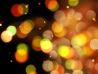 bright orange glow with golden round blurred lights sparkling night abstract background