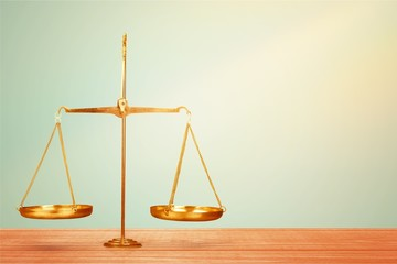 Scales of Justice on table, Weight Scale, Balance.