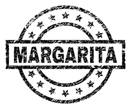MARGARITA stamp seal watermark with distress style. Designed with rectangle, circles and stars. Black vector rubber print of MARGARITA tag with dirty texture.