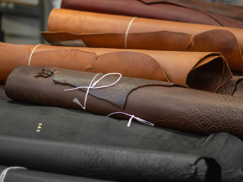 brown leather skins