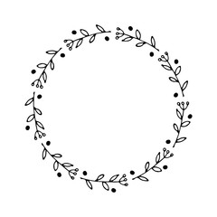 Christmas wreath Round Frames set hand drawn doodles. Vector illustration