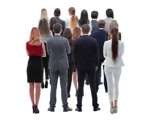 Back view group of business people. Rear view. Isolated over white background.